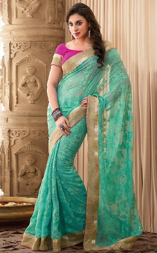 14. Turquoise net saree with golden border