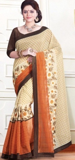 15. Cream and orange chanderi silk saree