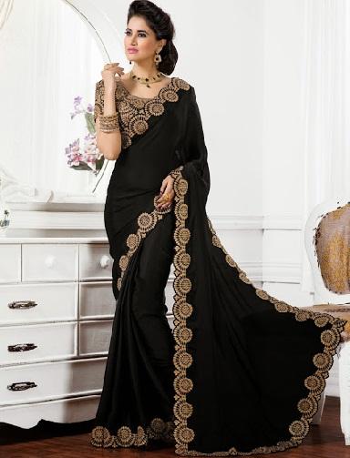 15.Black embroidery chiffon saree