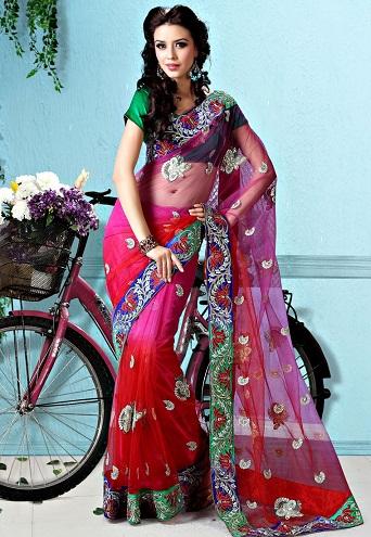 2. Red and magenta net saree