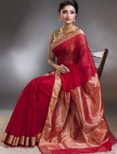 2. Red silk cotton chanderi saree with golden border