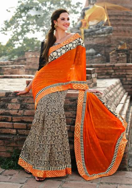 21 Black-Orange Chiffon Half And Half Saree