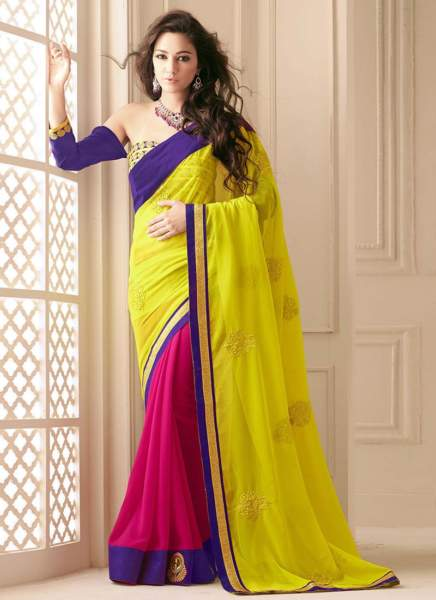 22 Yellow-Magenta Half And Half Saree With Embroidery Work