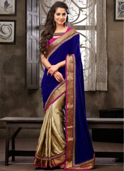 25-Beige-Blue-Satin-Georgette-Half-And-Half-Saree