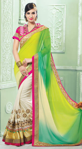 28 White Viscose Georgette Light Green Pallu Half-Half Saree