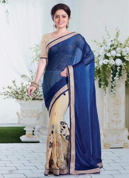 29 Navy Blue-Beige Georgette Half And Half Saree