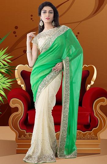 3. Green-cream coloured half and half net saree