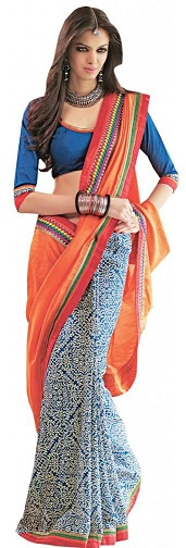 3. Orange and white chanderi silk designer saree