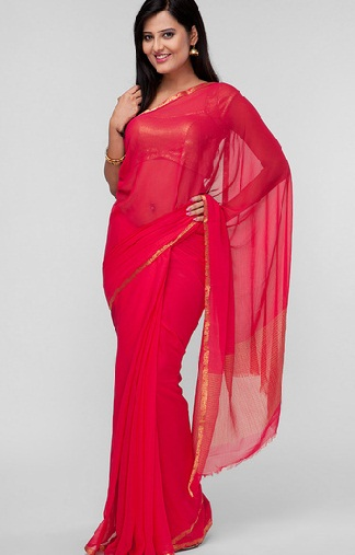 3.Red chiffon saree with zari border