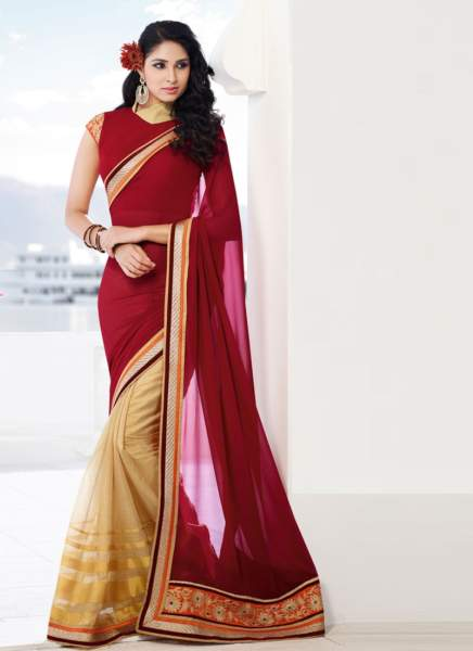 30 Golden Cream Super-Net And Dark Red Georgette Pallu Half-Half Saree