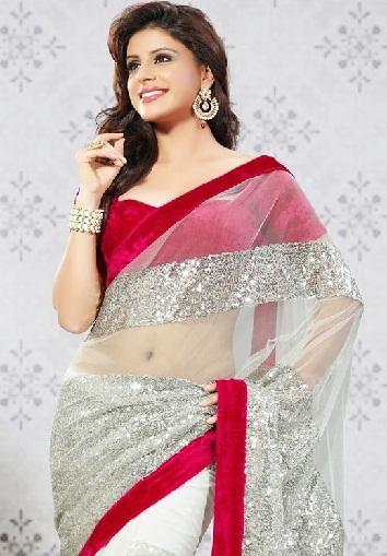 4. Off-white net saree with red velvet border