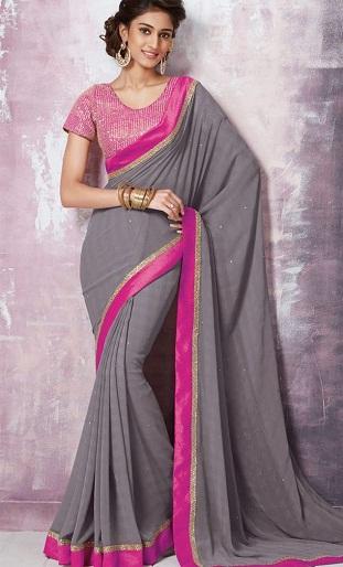 4.Grey coloured designer chiffon saree