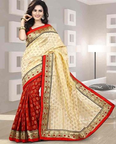 5. Red and cream designer chanderi silk saree