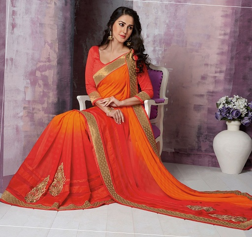5.Orange coloured chiffon saree