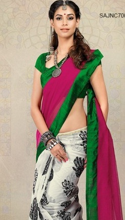 6. Magenta and white chanderi silk saree