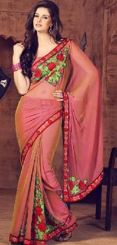 6.Pink chiffon embroidery saree