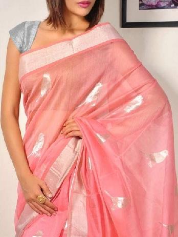 7. Peach and silver cotton silk chanderi saree