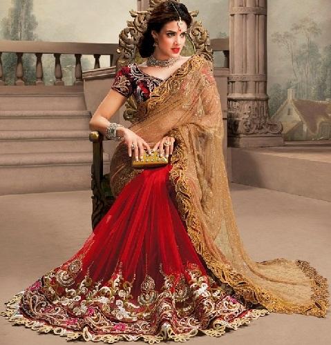 7. Red designer pure net bridal saree