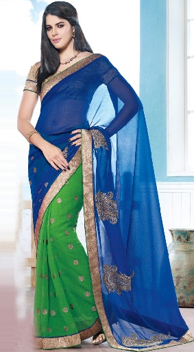 7.Blue and green faux chiffon saree