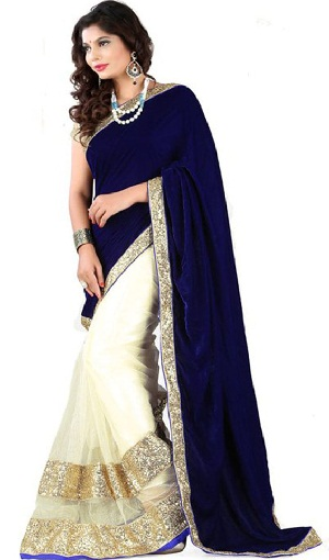 8. Blue and off-white embroidered designer net saree