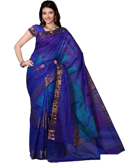 8. Deep blue cotton silk chanderi saree