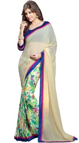 8.Cream multi coloured chiffon saree