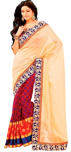 9. Red and beige chanderi saree with golden embroidery