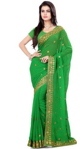9.Pure green coloured chiffon saree with golden works