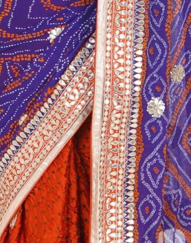 Bandhani Sarees-Orange-Blue Bandhani Saree With Mirror Works