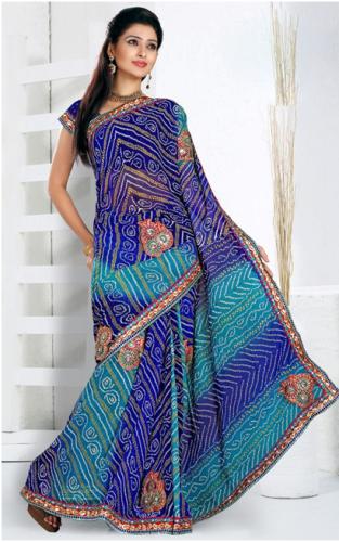 BandhaniI Sarees-Blue Bandhani Chiffon Saree 3