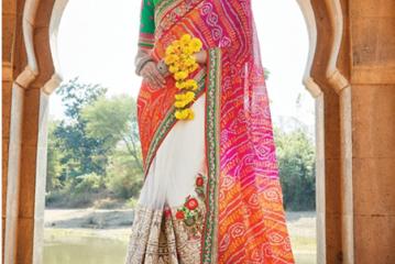 BandhaniI Sarees-Cream-Pink Jaipuri Bandhani Saree 8