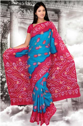 BandhaniI Sarees-Dark Pink-Blue Pure Silk Bandhani Saree 5