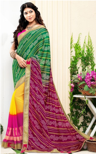BandhaniI Sarees-Green- Yellow Half And Half Printed Bandhani Saree 6