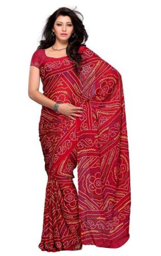 BandhaniI Sarees-Red Art Silk Printed Designer Bandhani Saree 7