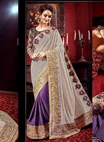 Beige-Violet Designer Half And Half Saree