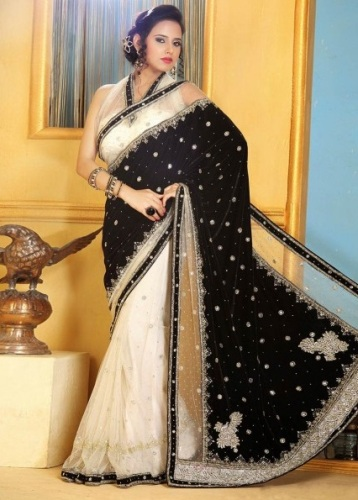 Black And Cream Velvet Sari 5