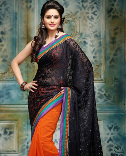 Black And Orange Brasso Saree 6