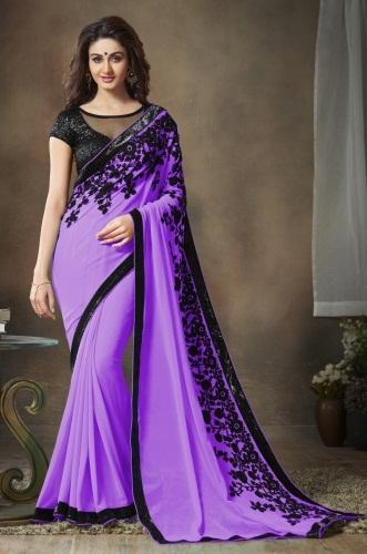 black-embroidery-violet-saree-design