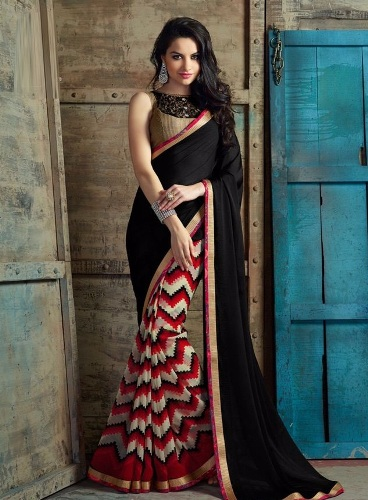 Black Georgette Half-Half Saree