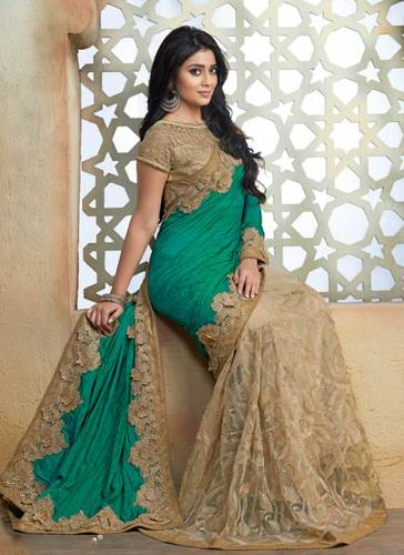 Bollywood Sarees-Green And beige Silk Bollywood Saree 15