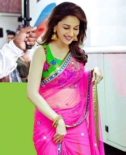 Bollywood Sarees-Madhuri Dixit Pink Alluring Designer Saree 4