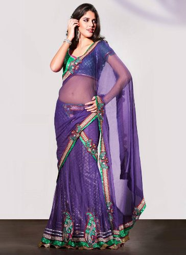 Bollywood Sarees-Purple Net Material Bollywood Saree 8