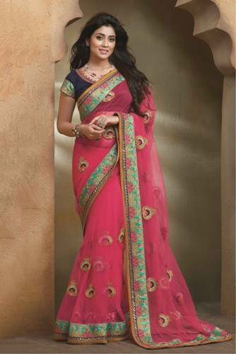 Bollywood Sarees-Shriya Saran Pink Designer Bollywood Saree 11