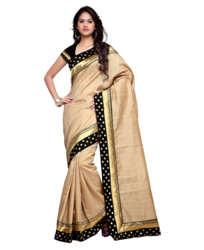 Cheap Sarees-Beige Coloured Banarasi Silk With Golden And Black Border 7