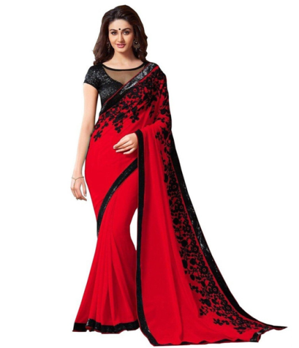 Cheap Sarees-Black And Red Georgette Sari 9