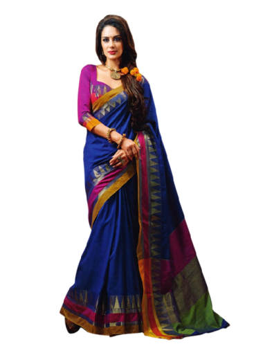 Cheap Sarees-Blue Coloured Cotton Saree With Intricate Designs 6