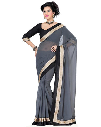Cheap Sarees-Grey Chiffon Saree With Embroidered Border 2
