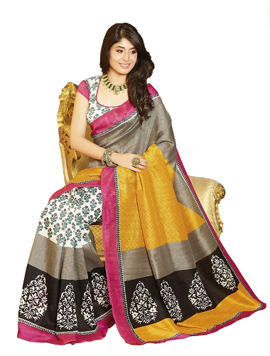 Cheap Sarees-Multi Coloured HandiCraft Cotton Cilk Saree 5