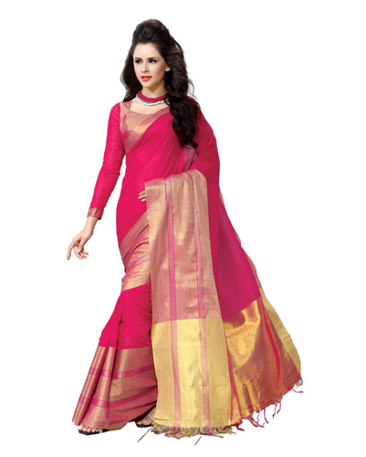 Cheap Sarees-Pink Coloured Printed Cotton Saree 3