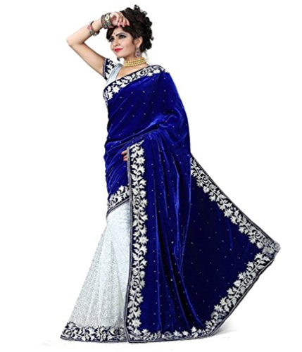 Cheap Sarees-Velvet And Net Royal Blue Saree  4